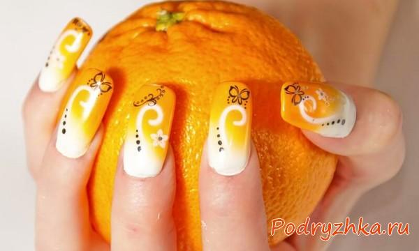 Дизайн ногтей под апельсин