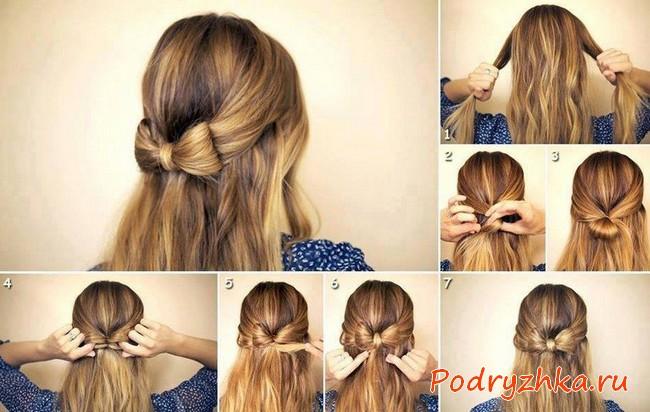 Как собрать бант из волос - пошаговые фото